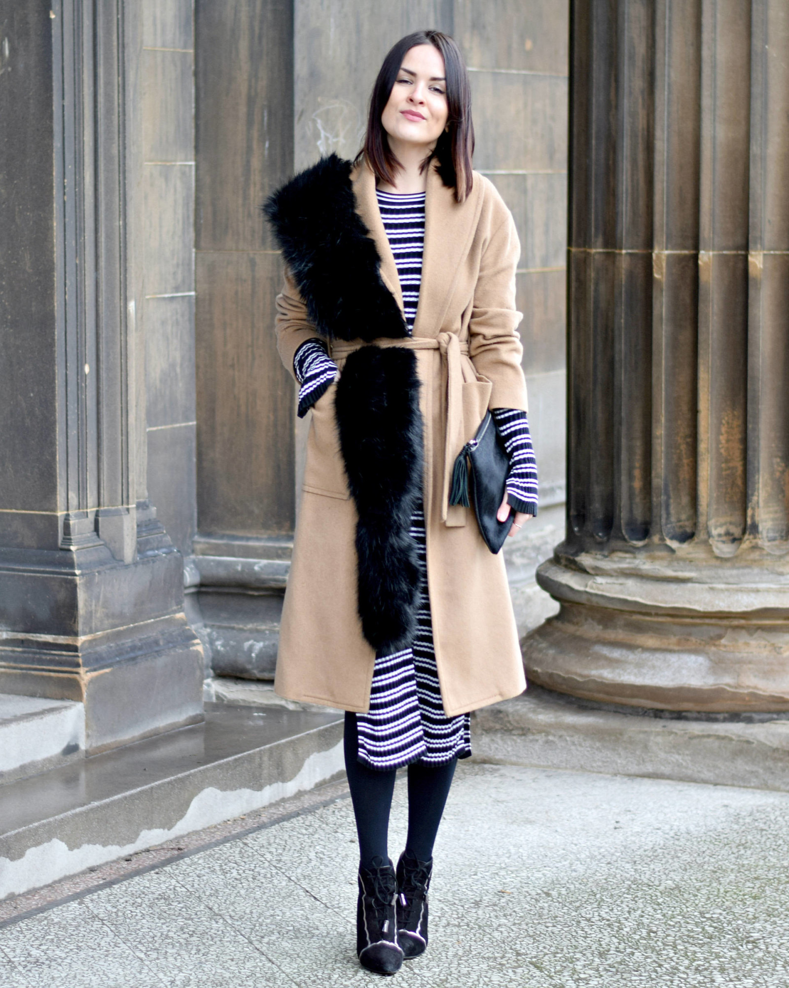 Striped H&M Dress and Camel Coat - LAFOTKA Fashion BLogger1