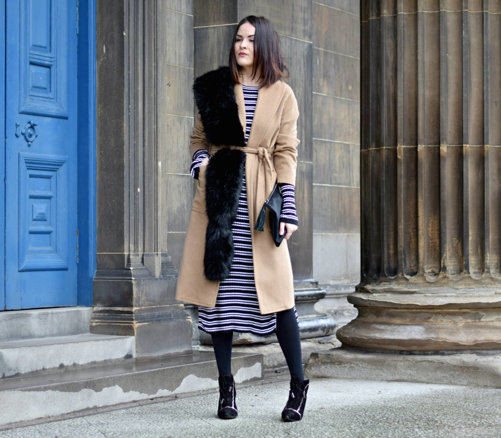 Striped H&M Dress and Camel Coat - LAFOTKA Fashion BLogger4