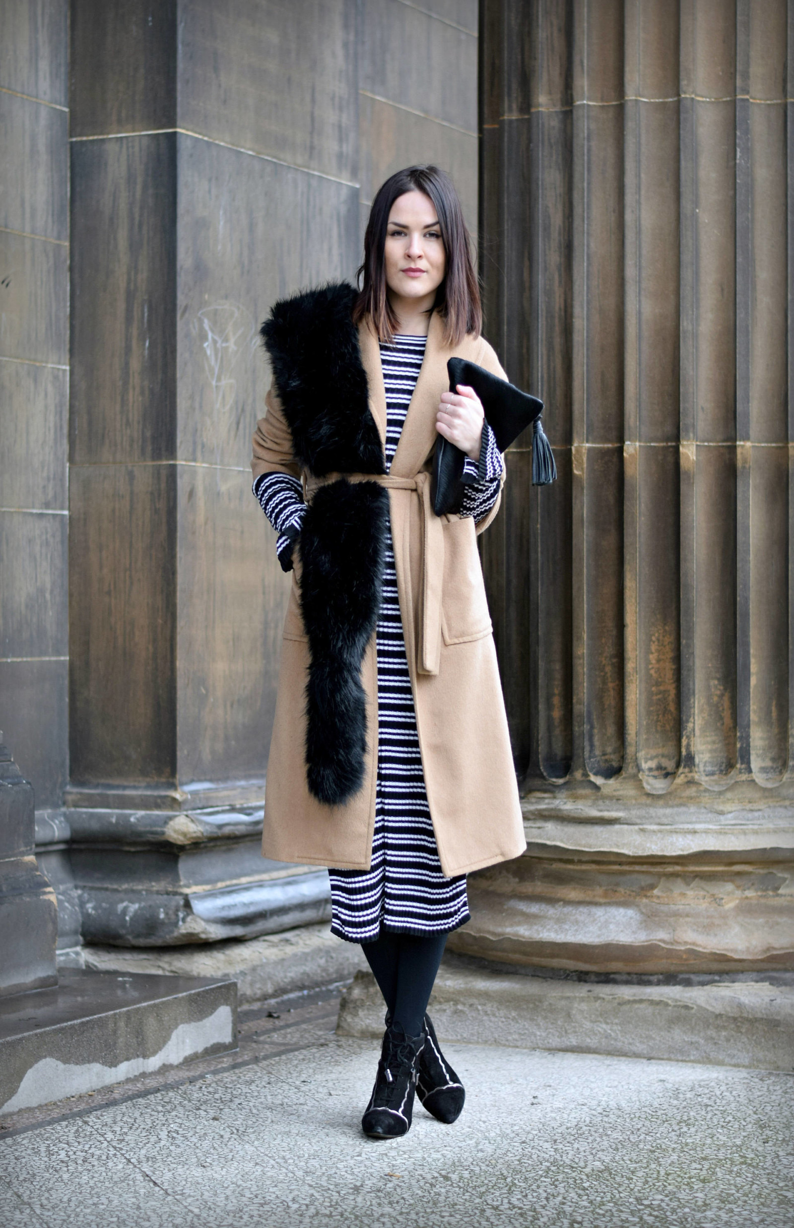 Striped H&M Dress and Camel Coat - LAFOTKA Fashion BLogger6