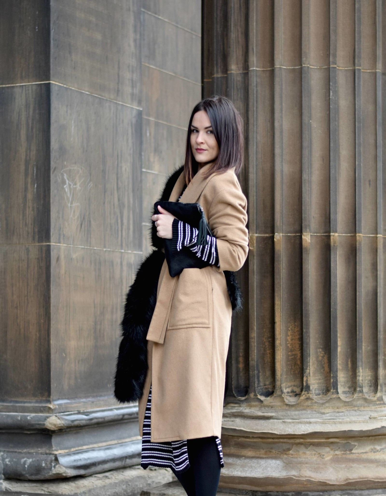 Striped H&M Dress and Camel Coat - LAFOTKA Fashion BLogger76