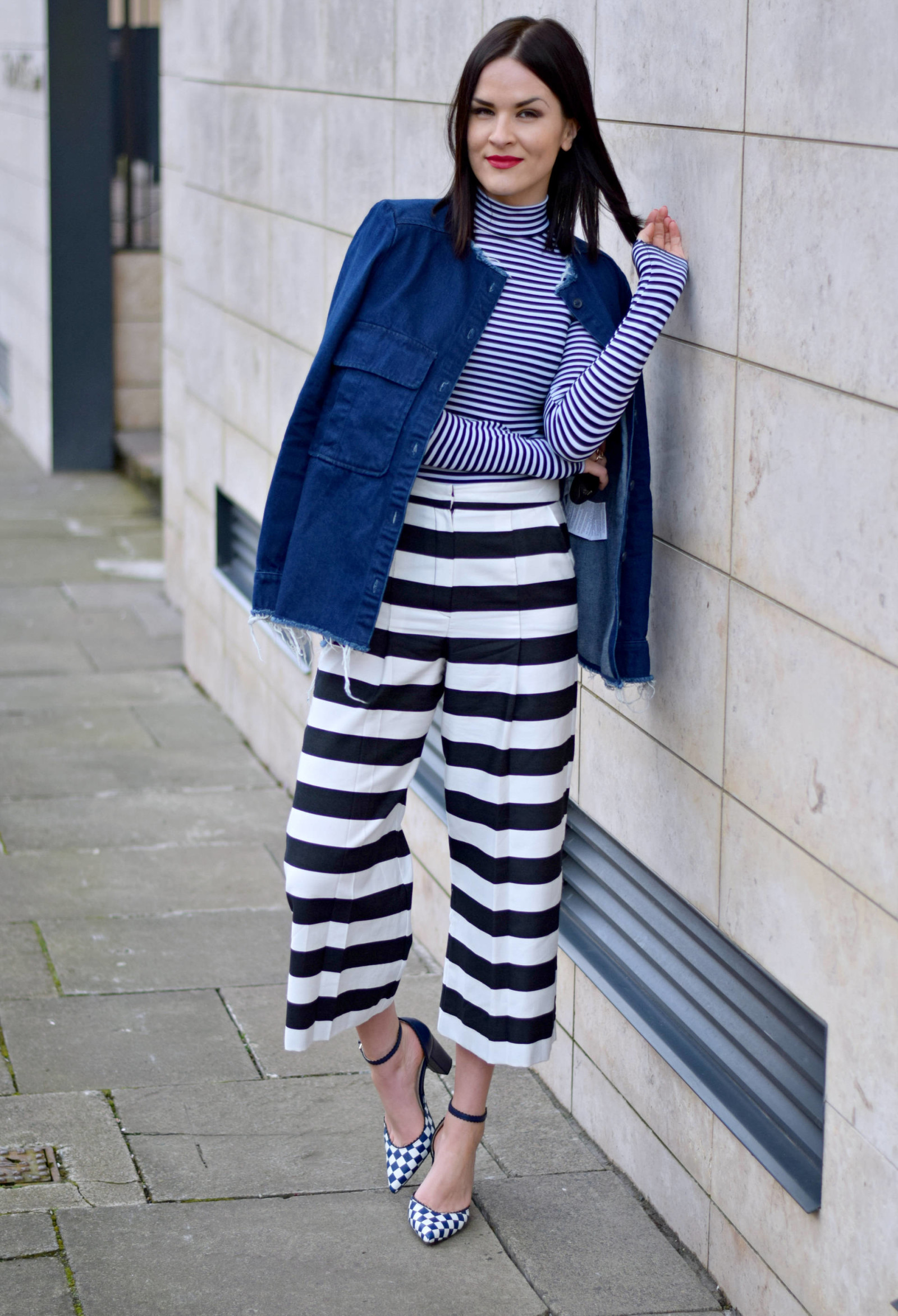 0dc49baecf5 ... STRIPED CULOTTES & frayed denim jacket - LAFOTKA 5 ...
