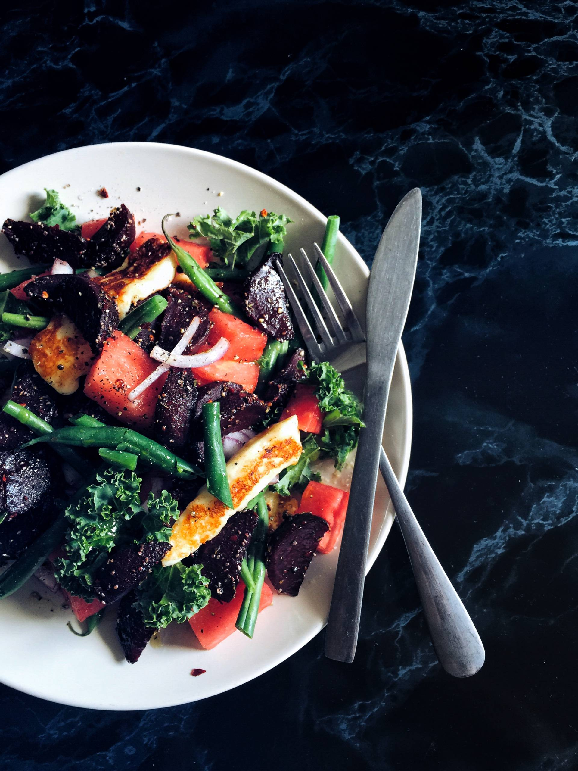 Beetroot and Halloumi Healthy warm salad recipe
