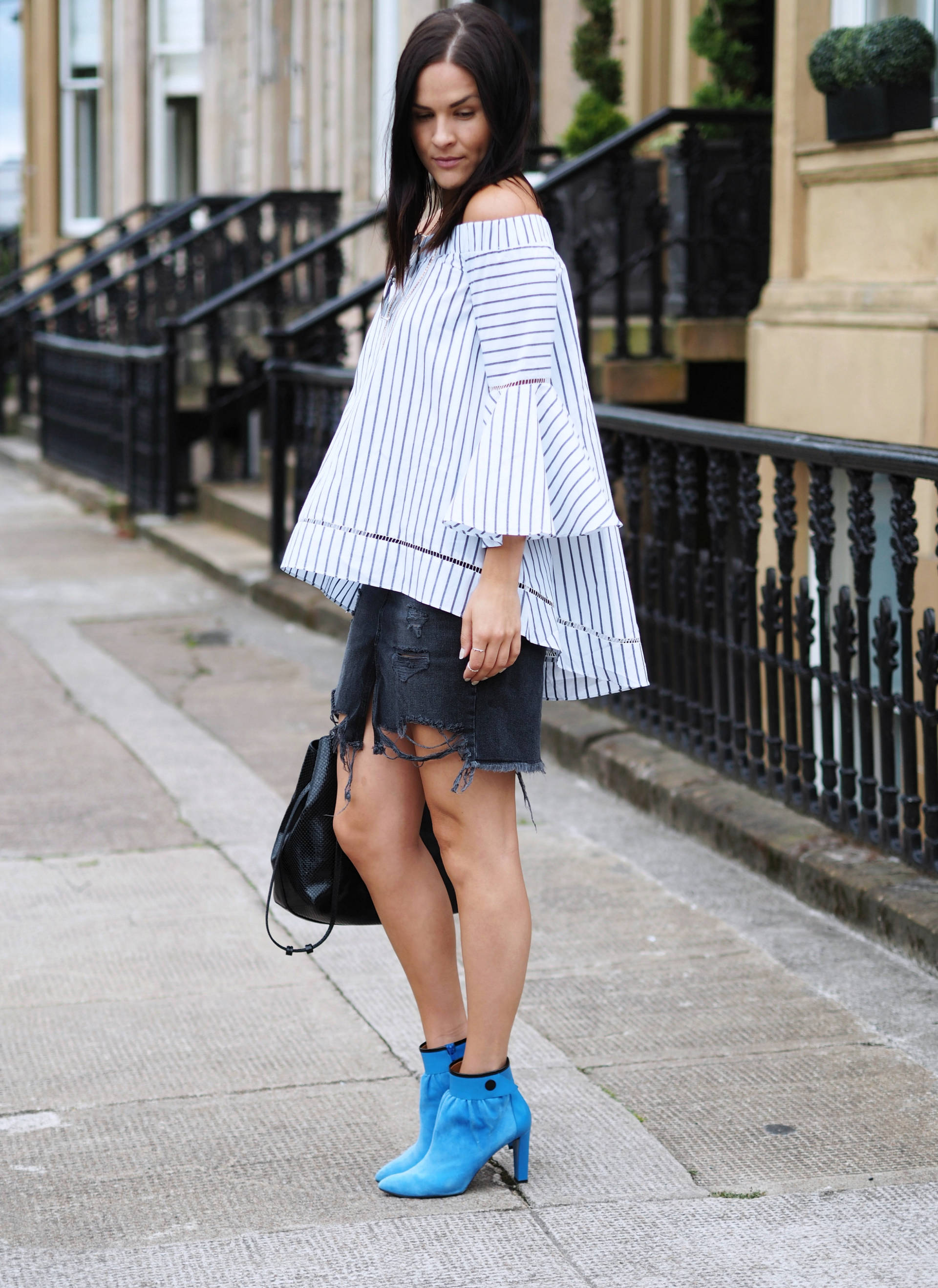 OFF THE SHOULDER TOP AND RIPPED DENIM SKIRT - LAFOTKA UK FASHION BLOGGER STYLING