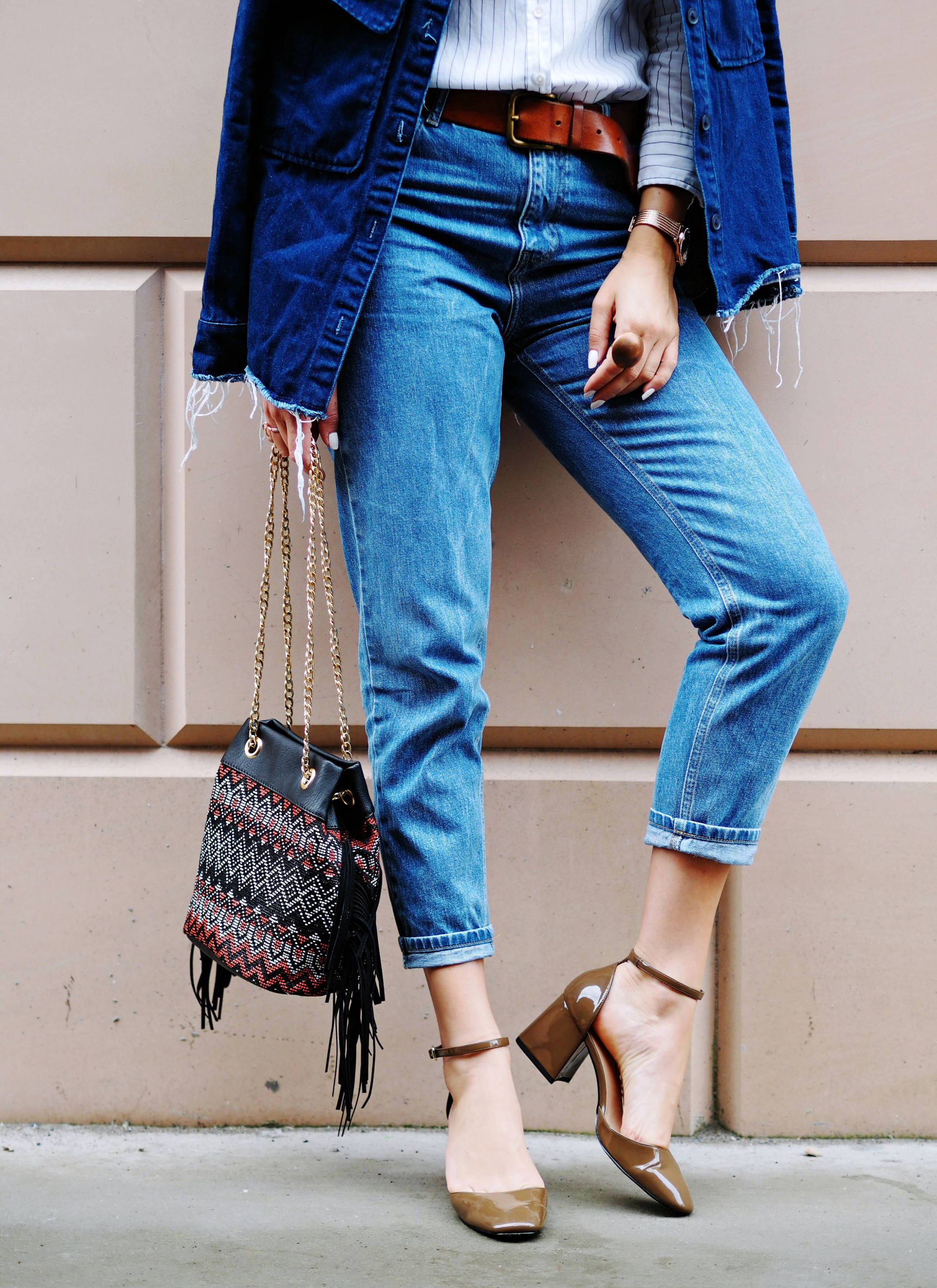 LAFOTKA - DOUBLE DENIM MOM JEANS AND GRANNY SHOES