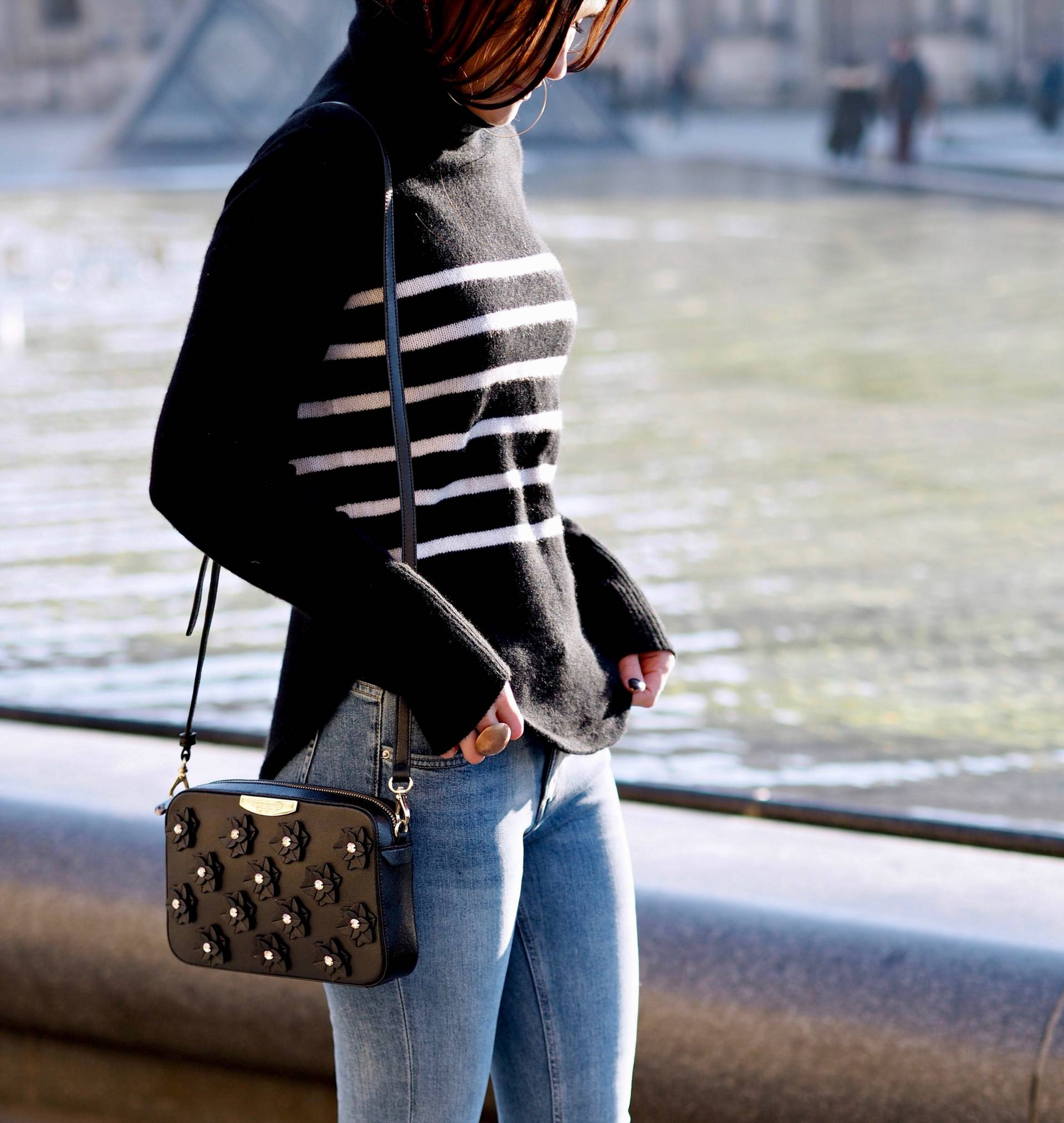 LAFOTKA FASHION BLOGGER PARIS STREET STYLE WITH JIGSAW CASHMERE JUMPER AVAILABLE AT LABEL ONLINE