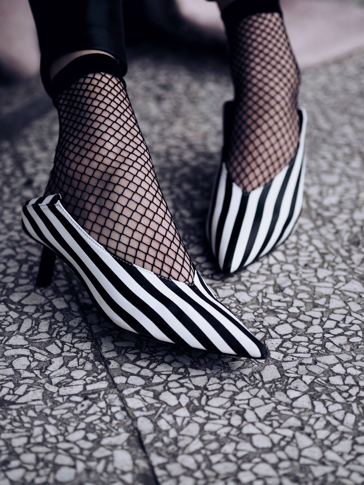 UNOde50 Jewellery and Kitten Heels with fishnet socks styled by UK Fashion Blogger LAFOTKA