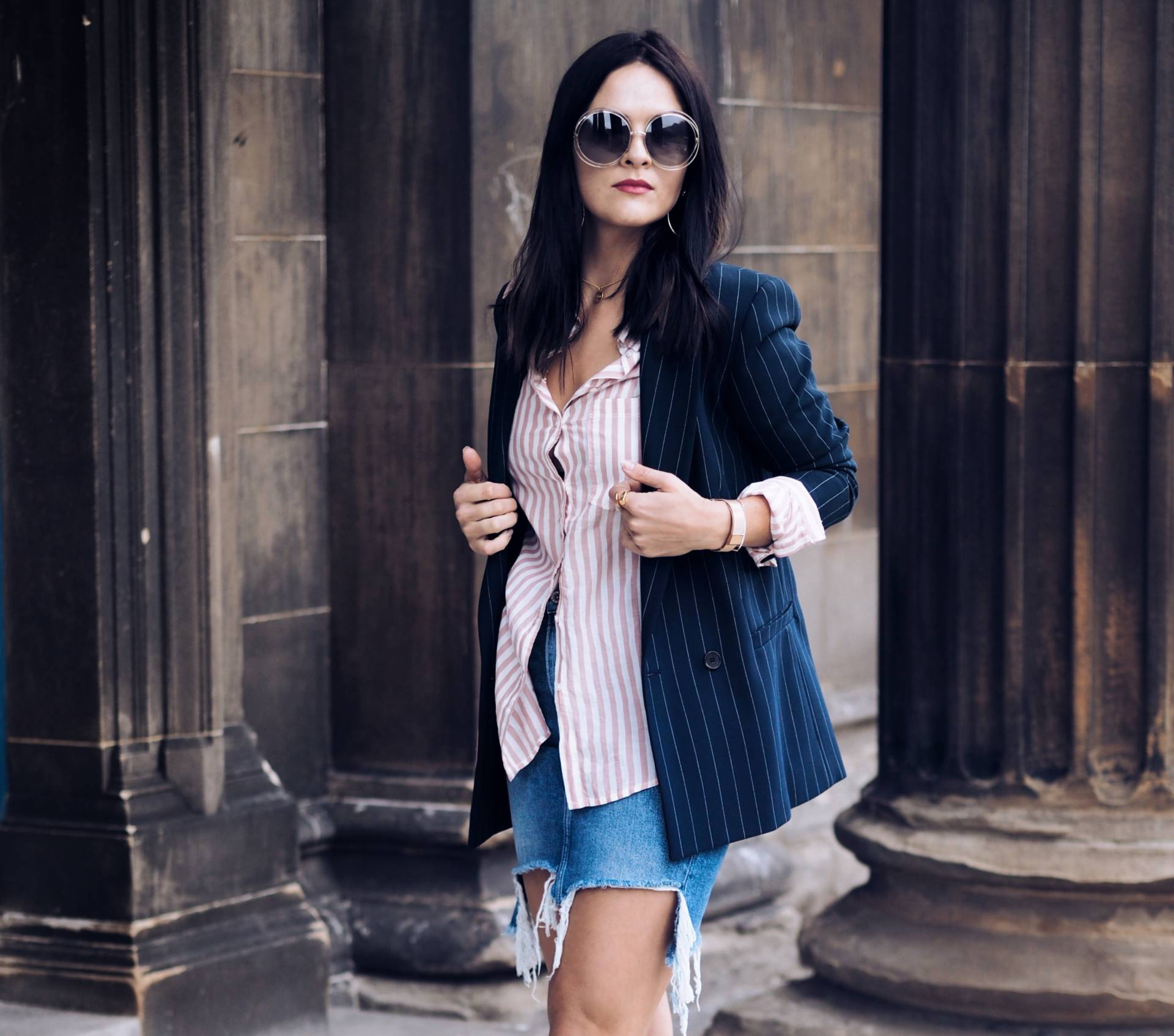 Atterley-GANNI-pin-stripe-blazer-styled-by-U.K.-Fashion-blogger-LAFOTKA