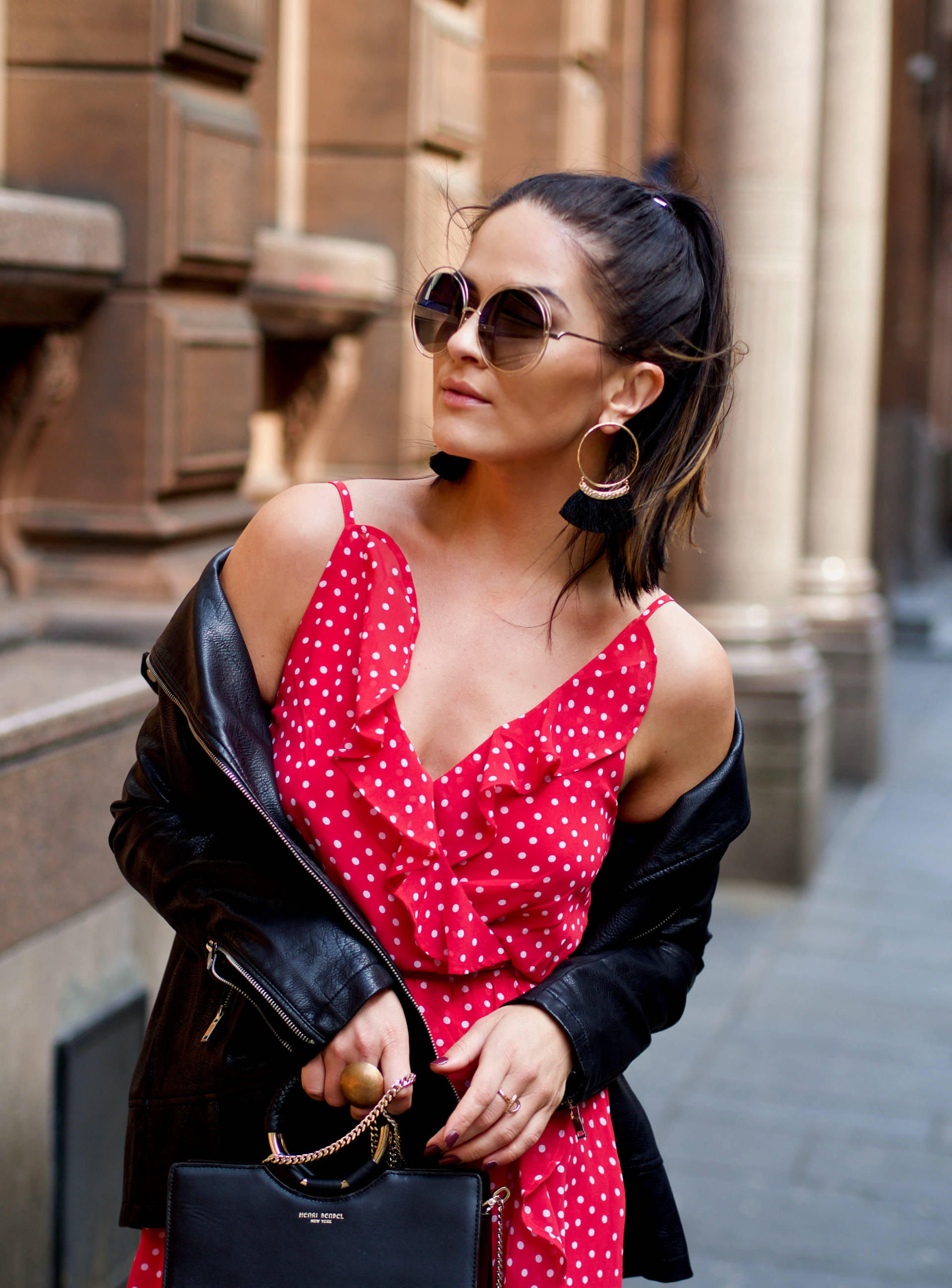 how to style a red dress summer casual edgy street style lafotka