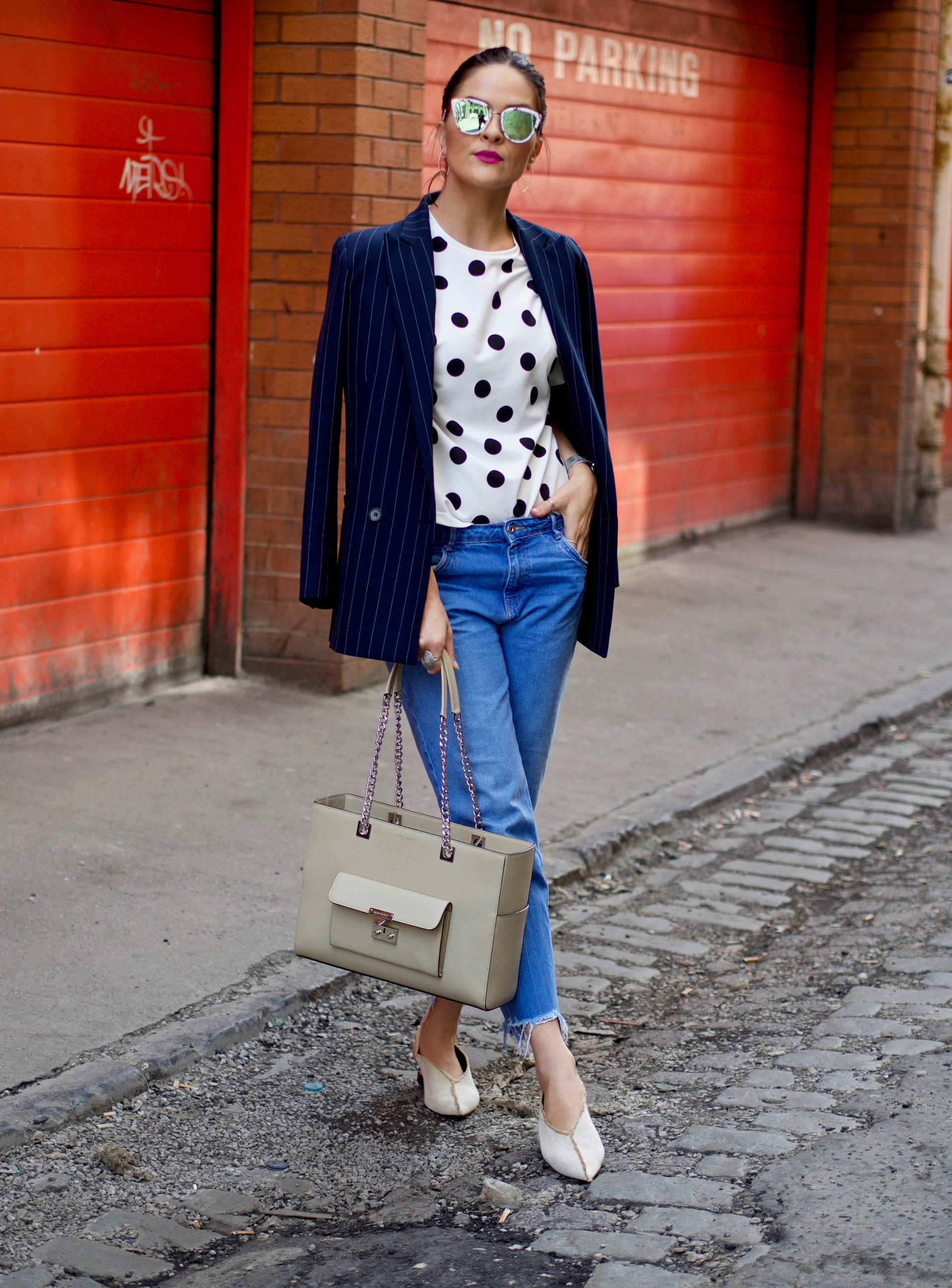 Polka dot and Ganni blazer with denim street style Spring 2017 - Blogger LAFOTKA
