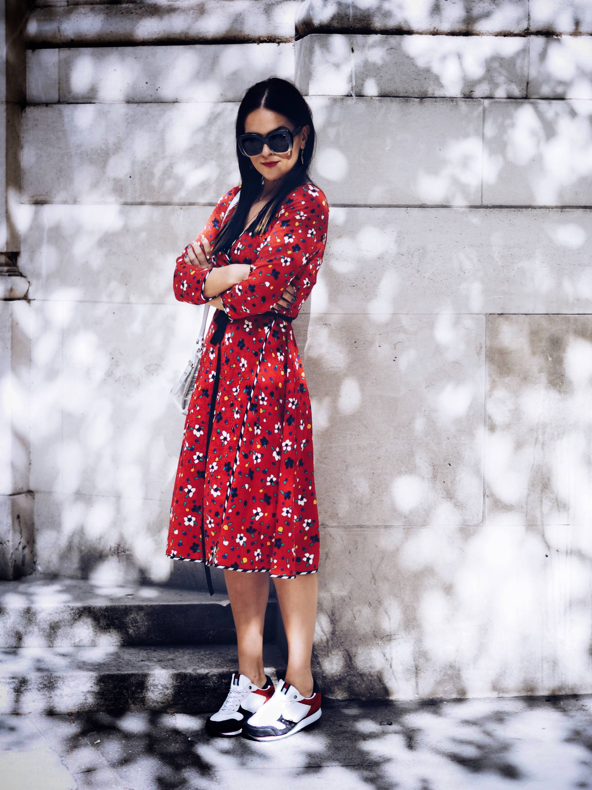 MARC-JACOBS-RED-FLORAL-WRAP-DRESS-BLOGGER-STYLING-LFW-SS18