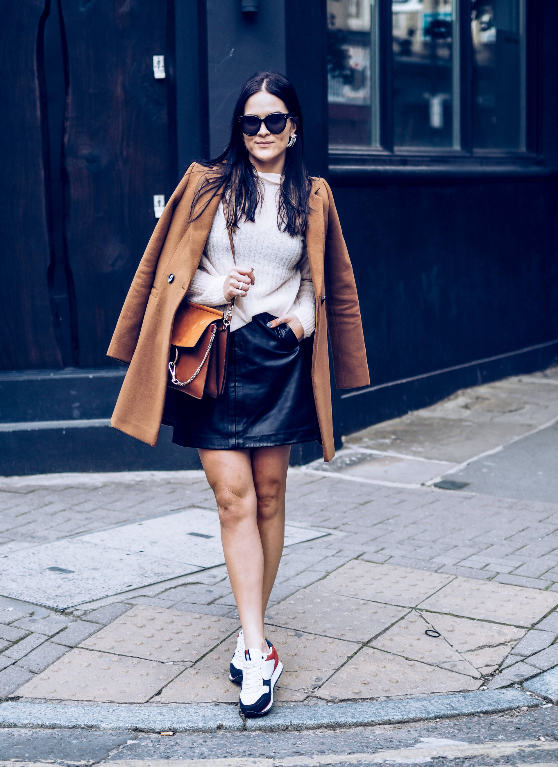LFW street style - label online warehouse coat, tommy hillfiger trainers and chloe faye bag london fashion week