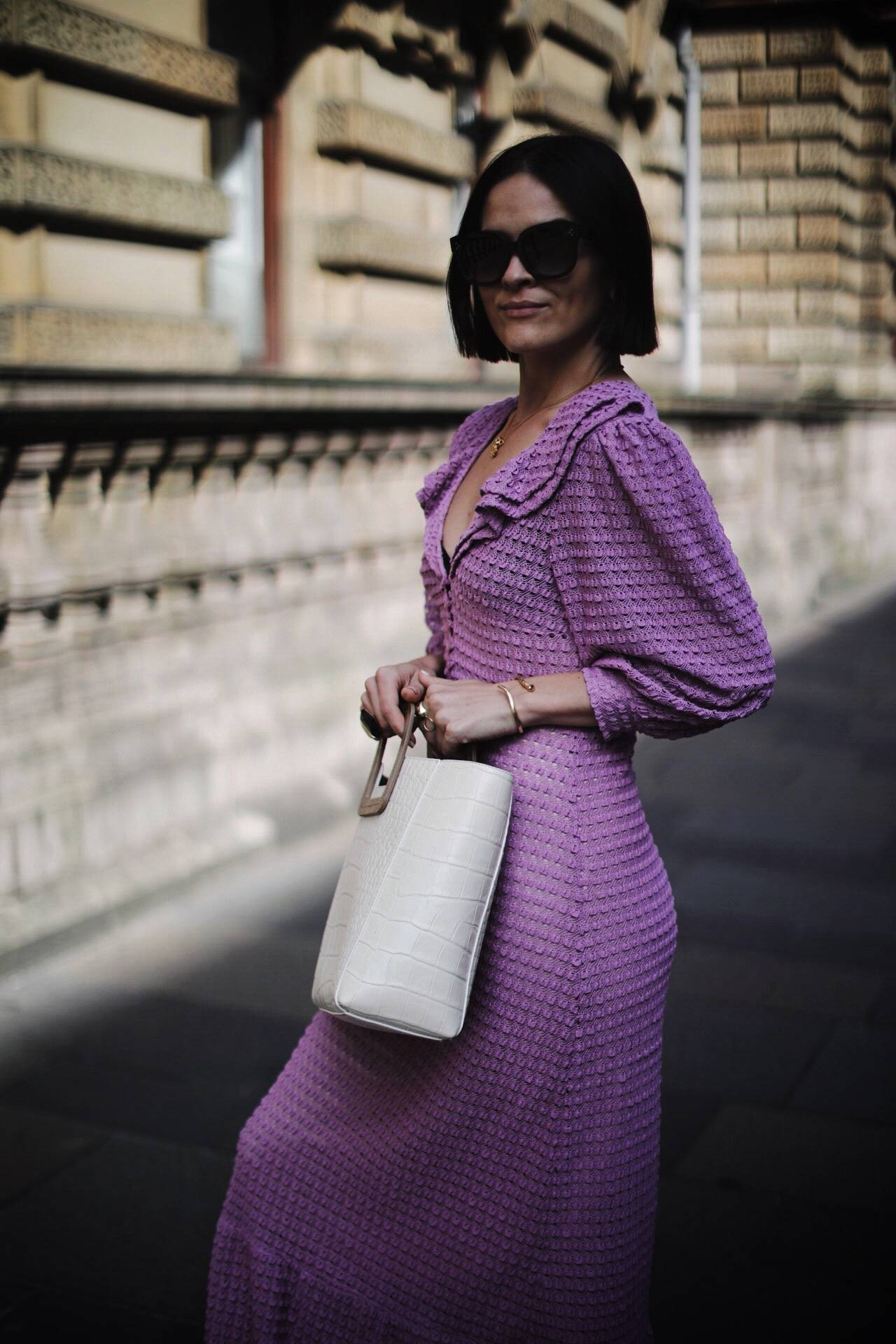ZARA-KNITTED-MIDI-LILAC-DRESS-BLOGGER-LAFOTKA