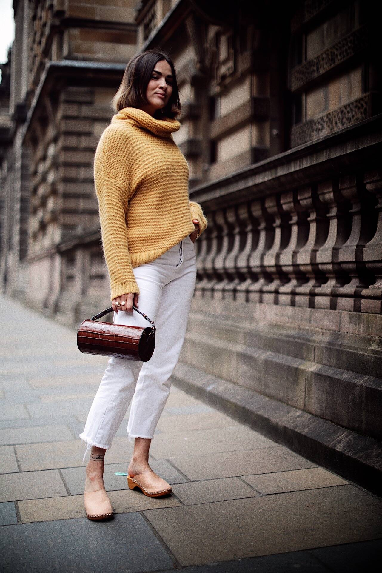 LAFOTKA Autumn Style White Jeans Clogs Yellow Knit 20206
